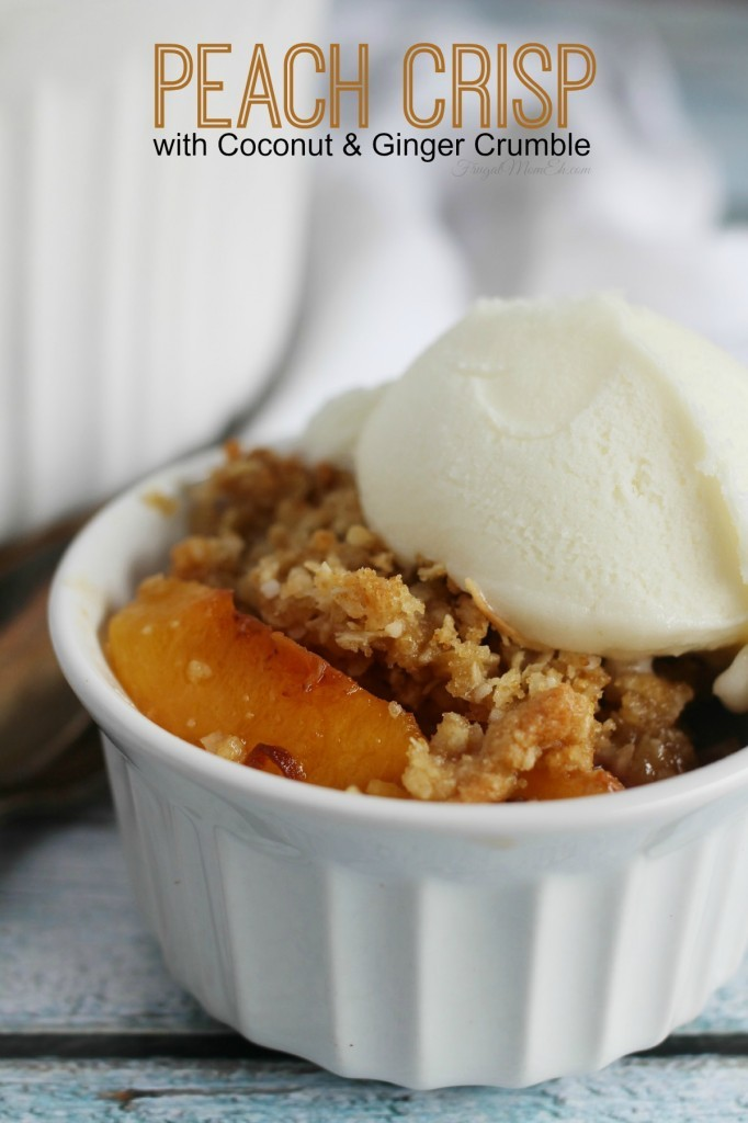 peach crisp with coconut crumble