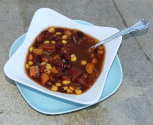 Vegetarian Slow Cooker Black Bean Soup with Spoon