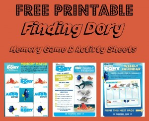 FINDING DORY Memory Game & Activity Sheets