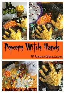 Popcorn witch hands collage