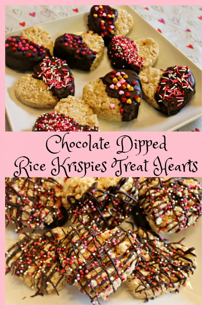Dipped Rice Krispies Treat Hearts