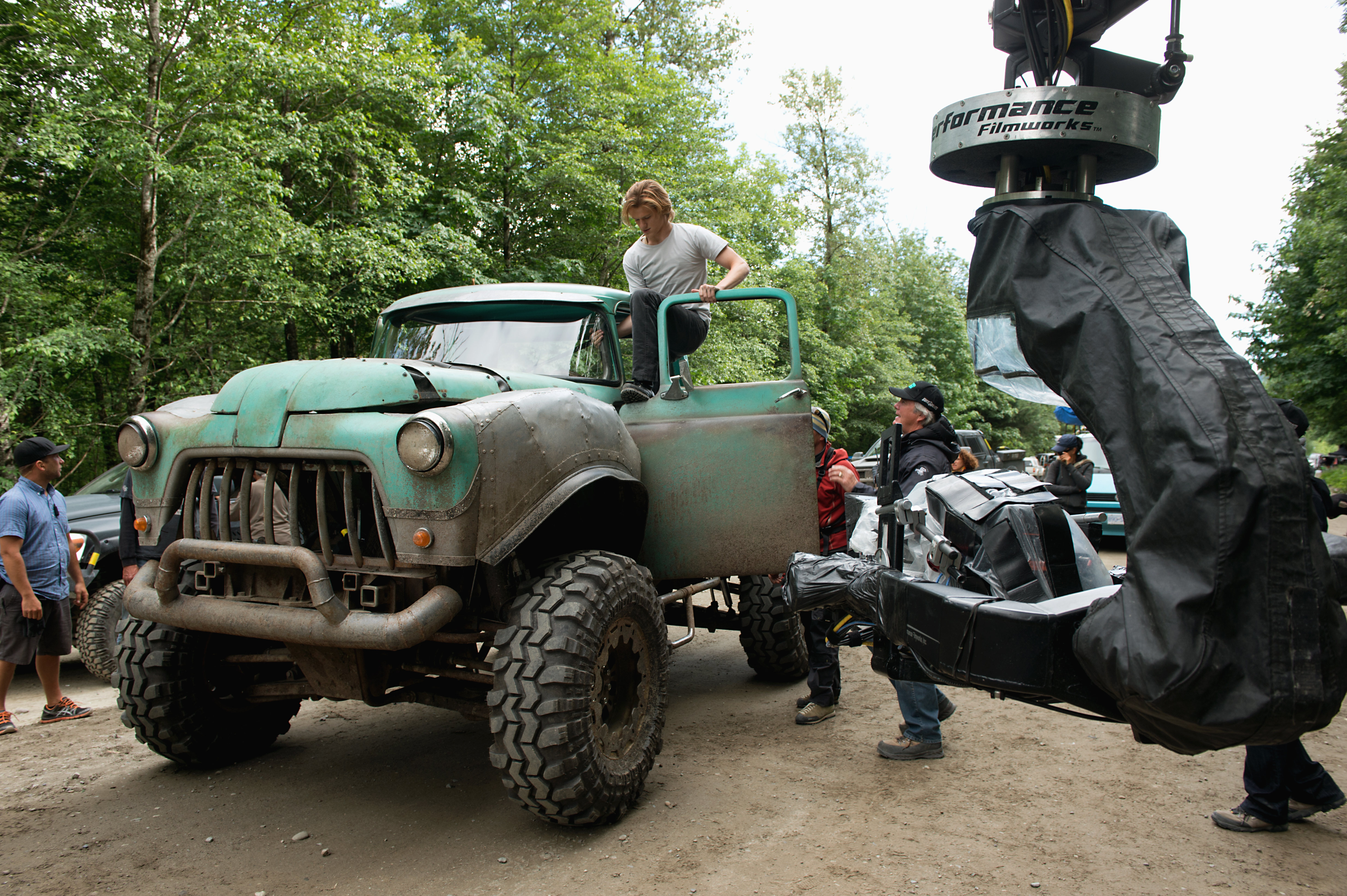Lucas Till on the set of Monster Trucks from Paramount Pictures.