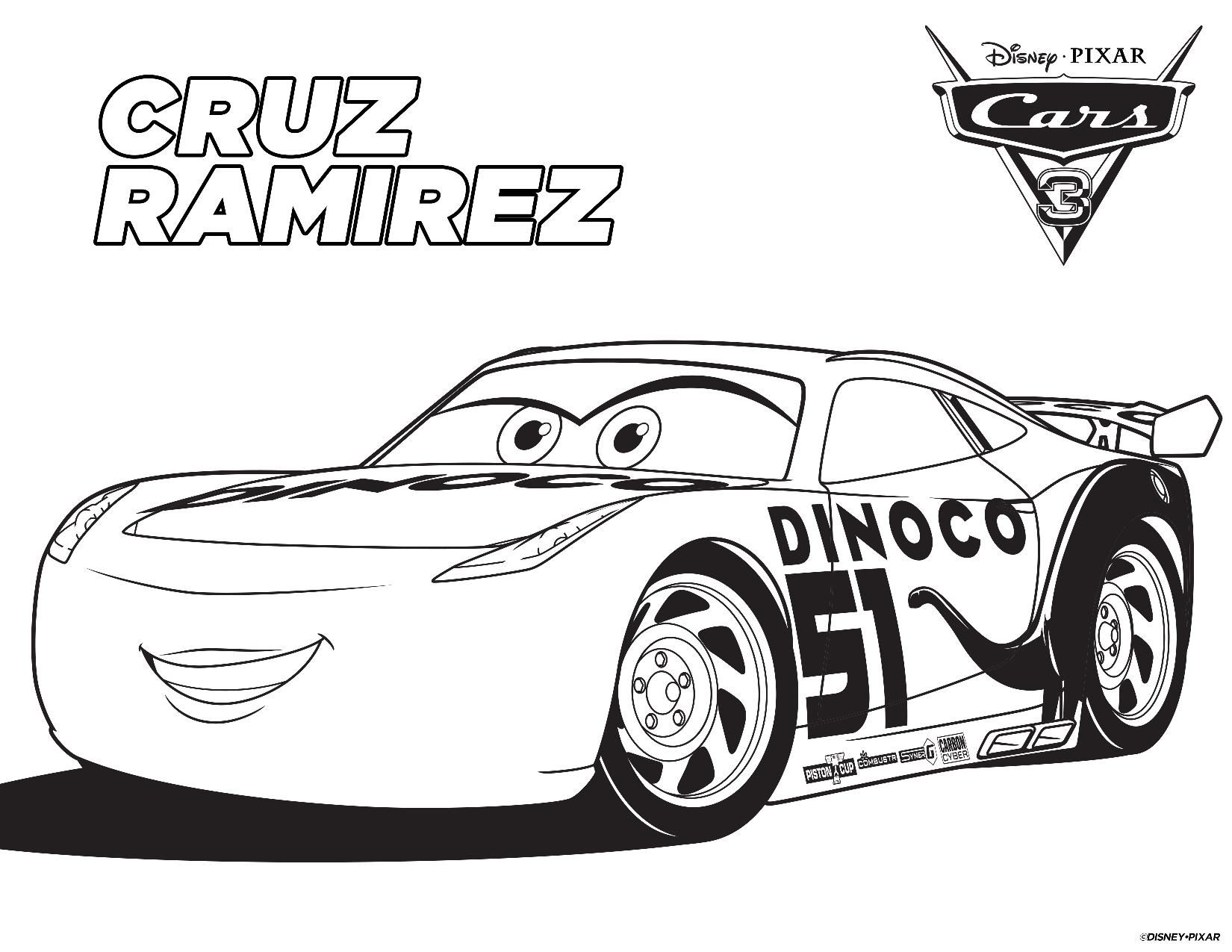Free coloring sheets cars - Cruz Ramirez Coloring Page