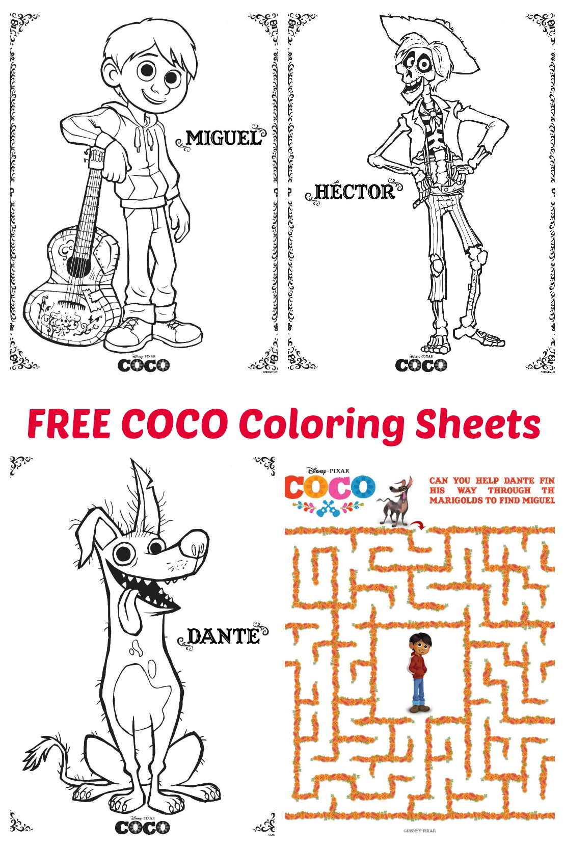 Pixar Coco Coloring Sheets Pixarcocoevent Finding Sanity In Our