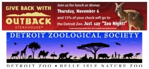 Outback/Detroit Zoo Give Back Night Fundraiser & Giveaway