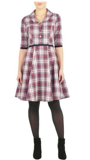 Shawl_Collar_Cotton_Check_Dress