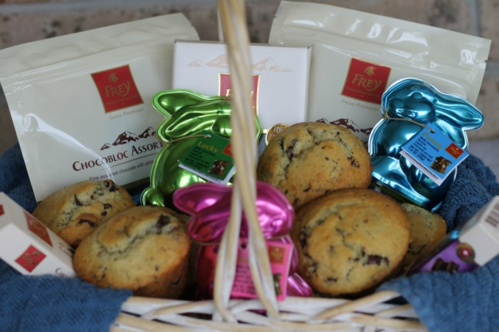 Dark Chocolate Muffins and Frey Chocolat Easter Basket