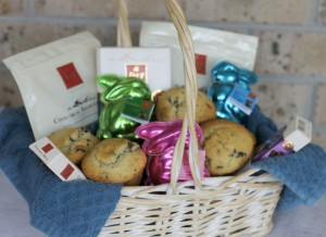 Cherry Chip Dark Chocolate Muffins And Chocolat Frey Easter Basket