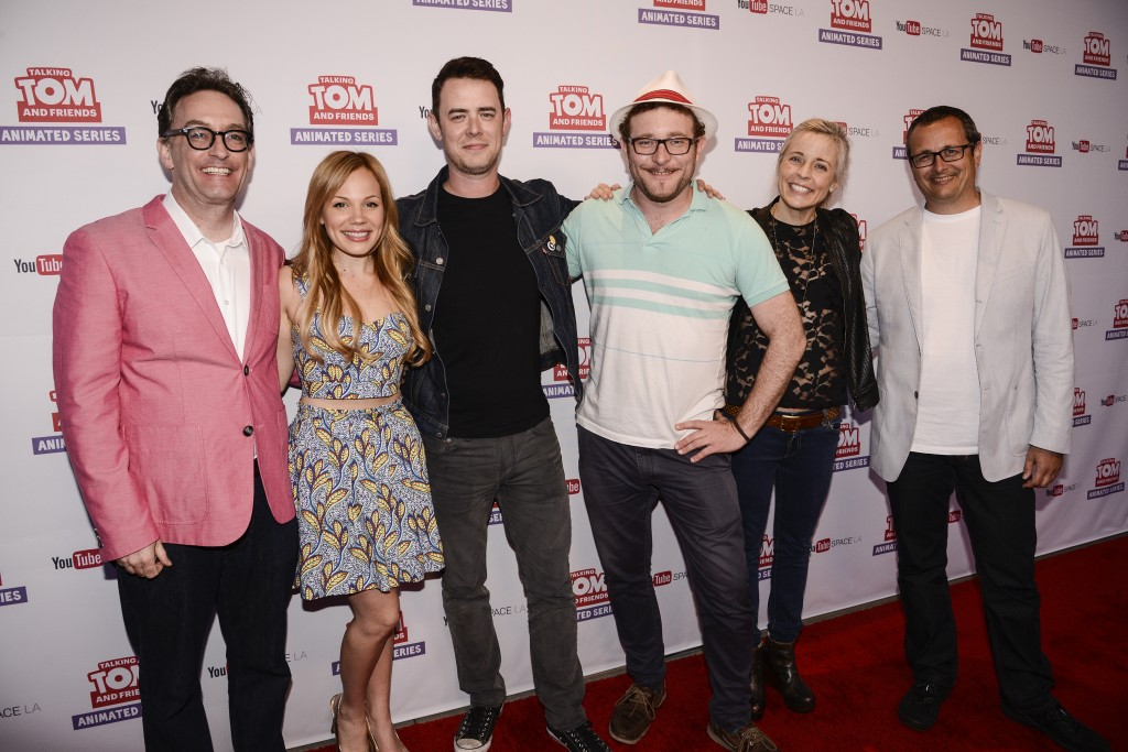 "From left to right, actor Tom Kenny, YouTube star Lisa Schwartz, actor Colin Hanks, actor James Adomian, comedian Maria Bamford, and CEO and Co-Founder of Outfit7 Limited Samo Login attend the premiere screening of the ""Talking Tom and Friends"" animated series at YouTube Space LA on Thursday, April 30, 2015 in Los Angeles. The series debuts today on YouTube. The series debuts today on YouTube. (Photo by Dan Steinberg/Invision for Outfit7/AP Images)"