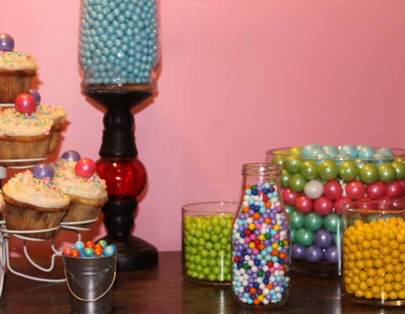 Delicious candy buffet and funfetti cupcakes