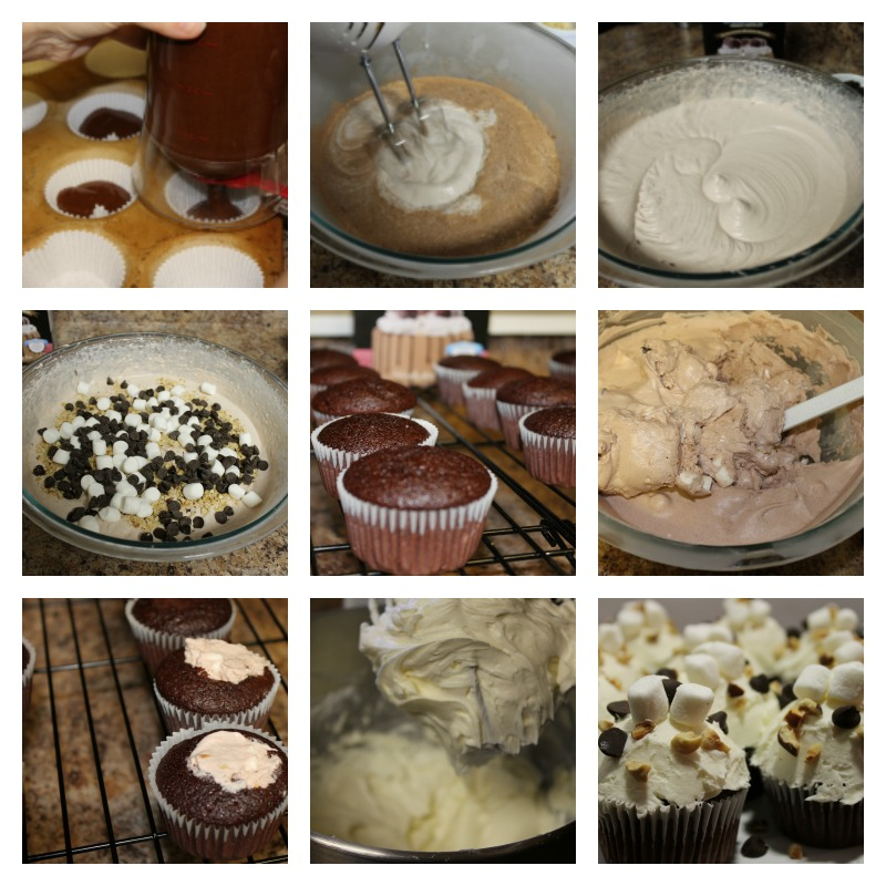 Picture Instructions for Rocky Road Ice Cream Cupcakes