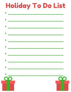Printable Holiday To Do List