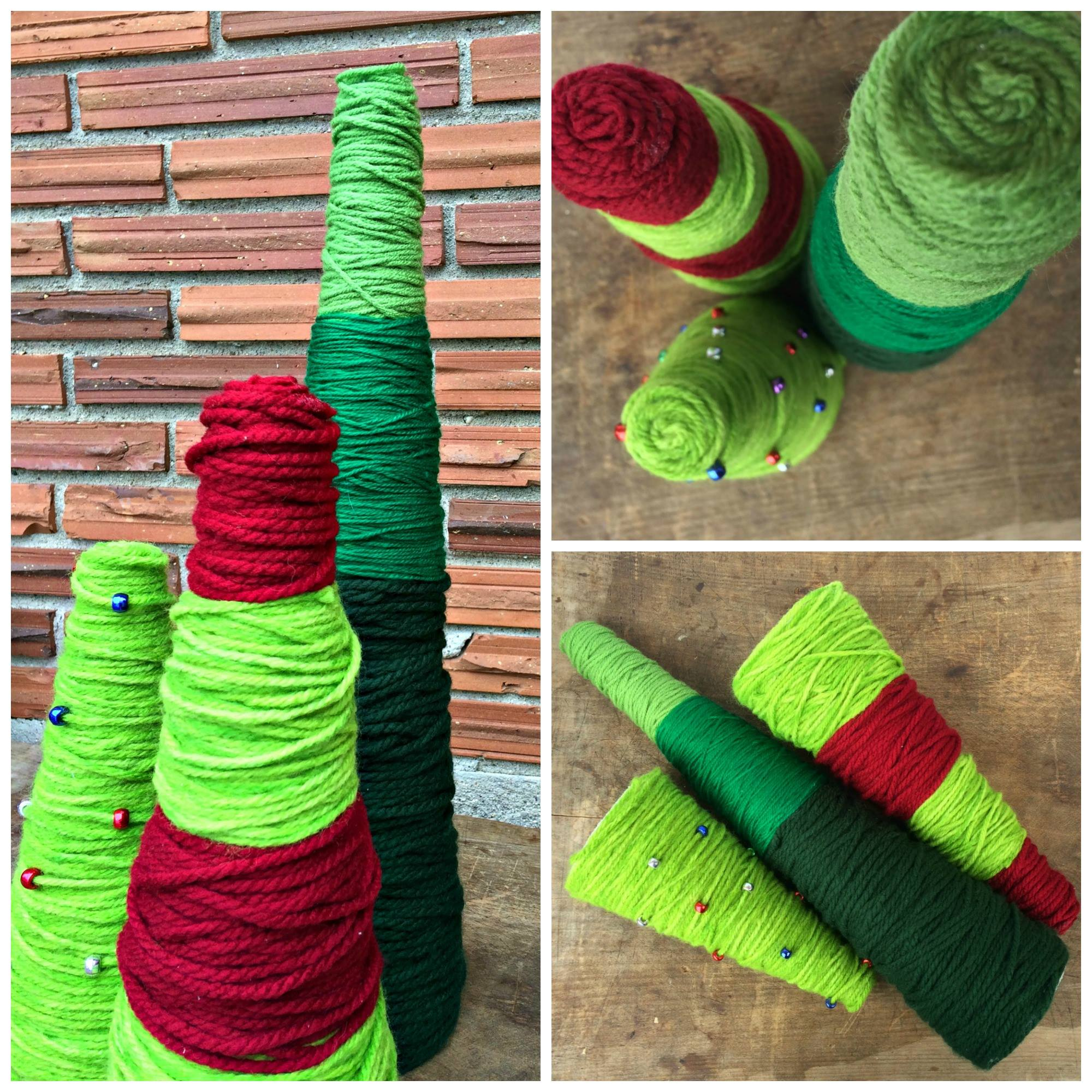 Simple Yarn Wrapped Christmas Trees