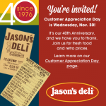Jason's Deli Celebrates 40th Anniversary with Customer Appreciation Day
