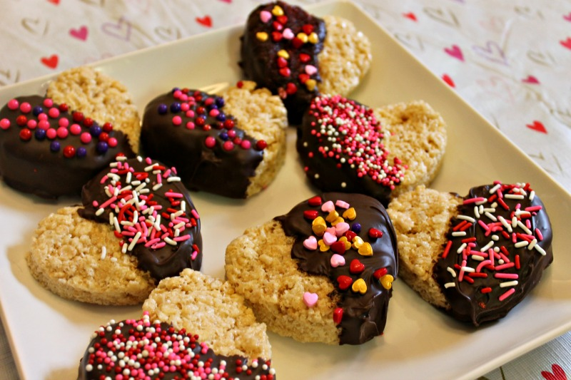 Chocolate Dipped Rice Krispies Treat Hearts Display