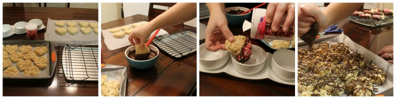 Picture Instructions for Chocolate Dipped Rice Krispie Treat Hearts
