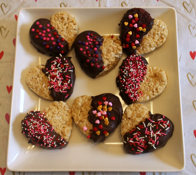 Valentine's Day Rice Krispies Treat Hearts
