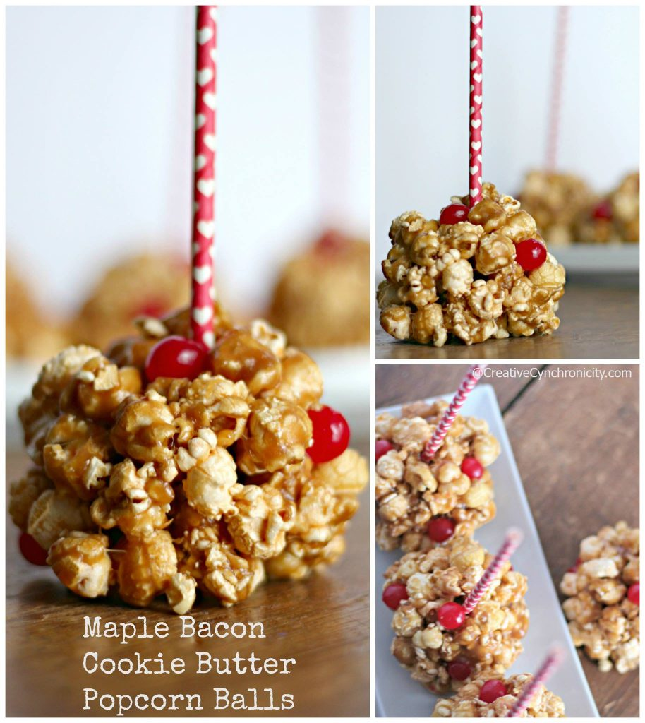 maple bacon cookie butter popcorn balls