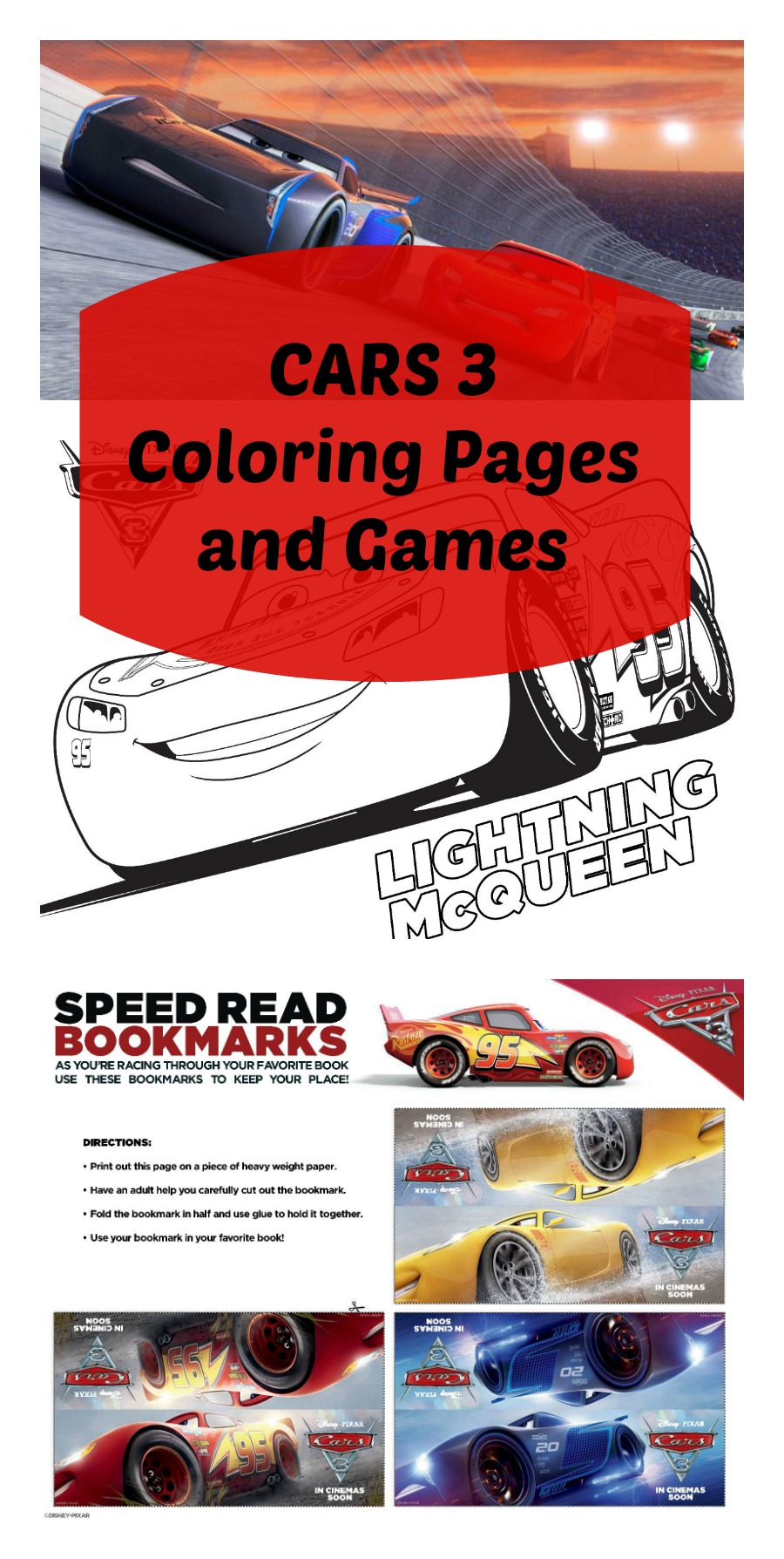 FREE Printable CARS 3 Coloring