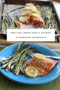 One Pan Lemon Garlic Salmon & Parmesan Asparagus -30 Days of #EasyDinners