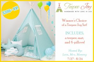 Teepee Joy Set Giveaway – Ends 8/24