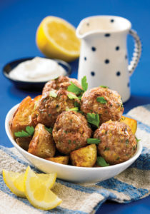 Lamb Meatballs with Lemony Garlic Potatoes