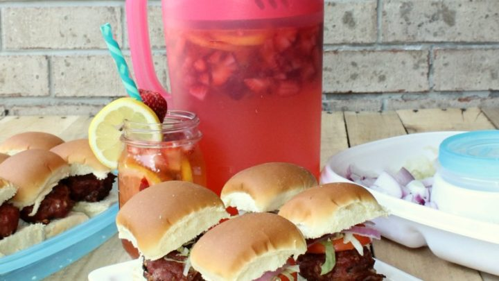 Bacon Blue Cheese Sliders & Strawberry Lemonade