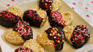 Chocolate Dipped Rice Krispies Treat Hearts